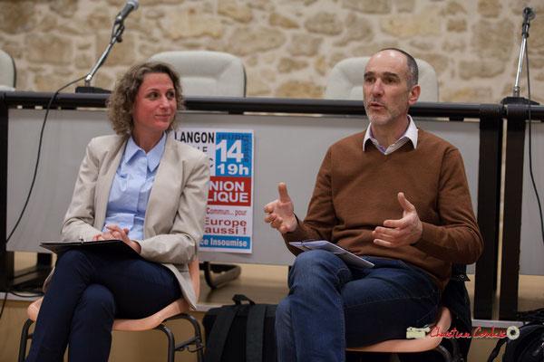 Marie Duret-Pujol, candidate aux élections européennes La France insoumise et Loïc Prud'homme, Député de la Gironde. Langon, 14/02/2019