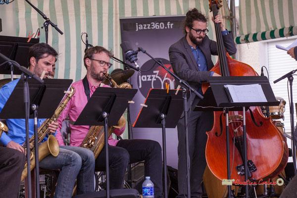 Julien Deforges, Jérôme Mascotto, Louis Laville; Big Band du Conservatoire Jacques Thibaud. Festival JAZZ360 2019, parc du château de Pomarède, Langoiran. 06/06/2019