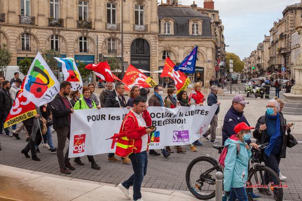 Manifestation intersyndicale, place de l'intendant Tourny, Bordeaux, mardi 5 octobre 2021. Photographie © Christian Coulais