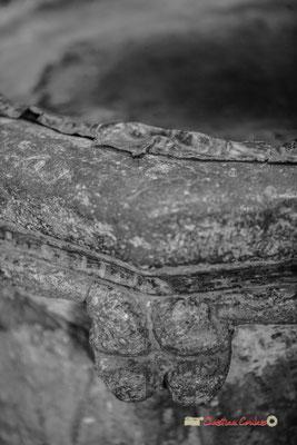Détail du bénitier de l'église Saint-Sauveur, cité médiévale de Saint-Macaire. 28/09/2019. Photographie © Christian Coulais