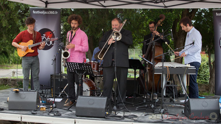Alexis Valet Quartet : Yori Moy, Brice Matha, Sébastien Arruti, Aurélien Gody, Alexis Valet. Festival JAZZ360 2016, Quinsac, 12/06/2016