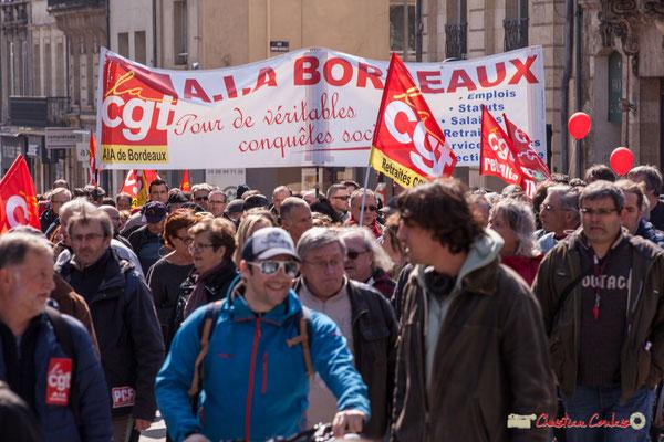 14h22 CGT A.I.A. Bordeaux, CGT Retraités. Manifestation intersyndicale de la Fonction publique/cheminots/retraités/étudiants, place Gambetta, Bordeaux. 22/03/2018
