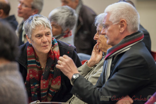 Huguette Fossat, Adjointe à la Maire d'Haux; Monique Barrière, Adjointe au Maire de Cambes; Frédéric Cousso, Maire de Croignon