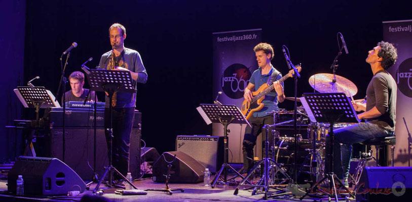 Le Jardin Quartet : Simon Chivallon, piano / Julien Dubois, saxophone /  Ouriel Ellert, basse / Gaétan Diaz, batterie. Festival JAZZ360, 10/06/2016