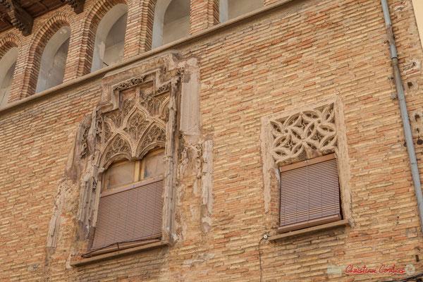 Détail des fenêtres, Maison-Palais d'Añués / Detalle de las ventanas, Casa-Palacio de Añués, 12, Calle Mayor, Sangüesa, Navarra