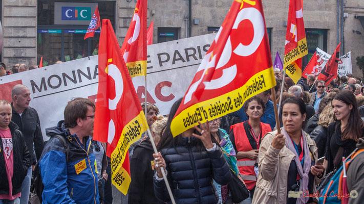 CGT Fédération des Sociétés d'Etudes. Manifestation contre la réforme du code du travail. Place Gambetta, Bordeaux, 12/09/2017