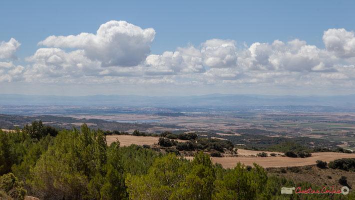 Plaine de la Ribera depuis un point de vue proche d'Ujué, Navarre, Espagne