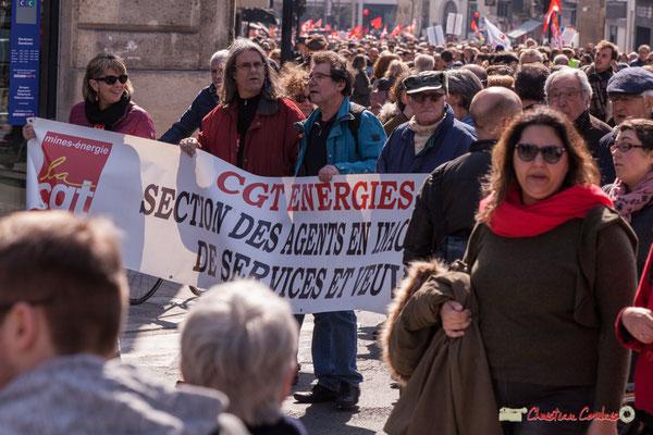 14h30 CGT mines-énergie. Manifestation intersyndicale de la Fonction publique/cheminots/retraités/étudiants, place Gambetta, Bordeaux. 22/03/2018