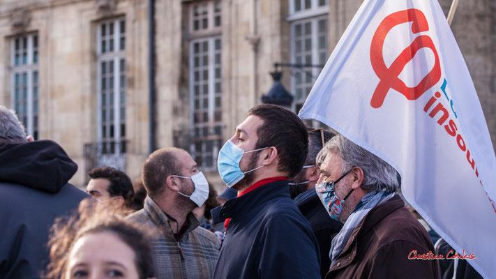 """""""Guillaume Latrille, la France insoumise"""" Manifestation contre la loi Sécurité globale. Samedi 28 novembre 2020, quai Richelieu, Bordeaux. Photographie © Christian Coulais"""