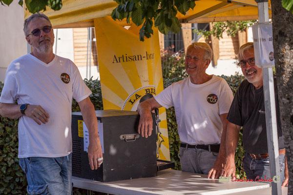 Philippe Olive, Robert Bertin, Jean-Luc Camiliéri, bénévoles JAZZ360. Jujubees Swing Combo. Festival JAZZ360, Cénac. 08/06/2019