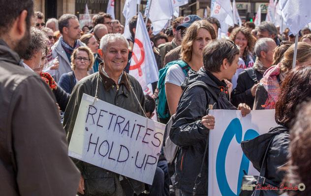 """""""Retraites hold-up"""" Manifestation contre la réforme du code du travail. Place Gambetta, Bordeaux, 12/09/2017"""