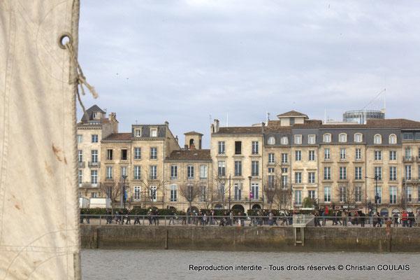 Voile et quai des Chartrons. Gabare les Deux Frères, Bordeaux, samedi 16 mars 2015