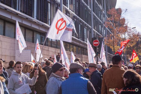 150 à 200 militants la France insoumise étaient présents. Manifestation intersyndicale contre les réformes libérales de Macron. Cours d'Albret, Bordeaux, 16/11/2017