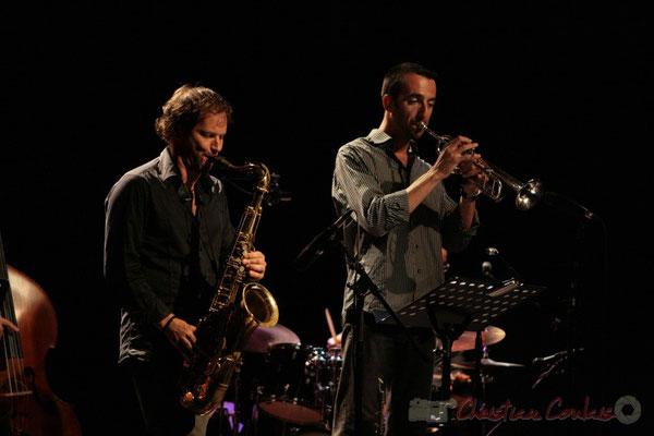 Frédéric Borey, Sylvain Gontard, Roger 'Kemp' Biwandu; Roger Biwandu Quintet, Festival JAZZ360 2011, Cénac. 03/06/2011