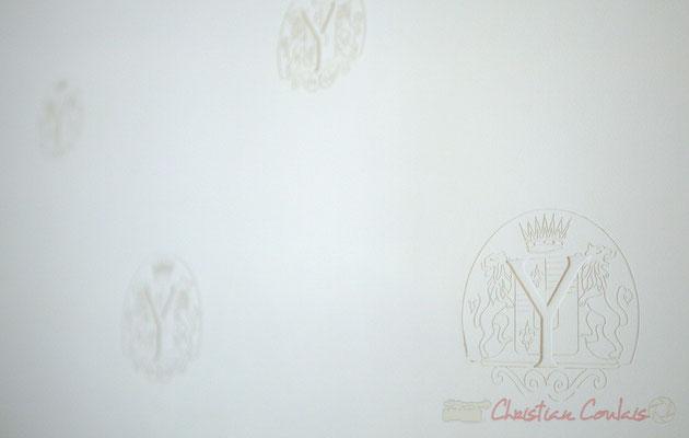 Détail du mur de la salle de dégustation. Château d'Yquem