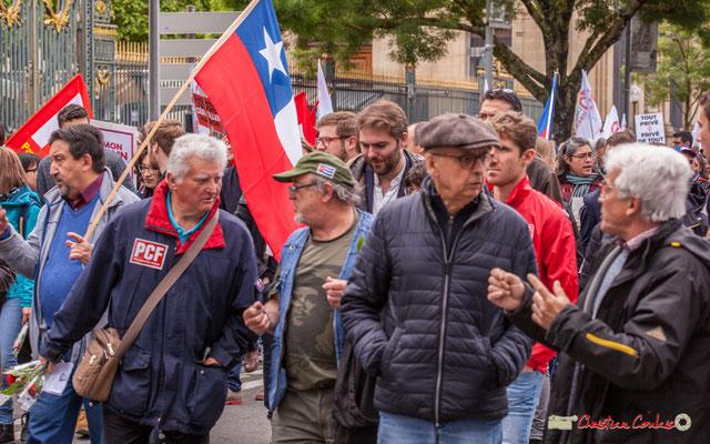 10h44 PCF et militants chiliens. Cours d'Albret, Bordeaux. 01/05/2018