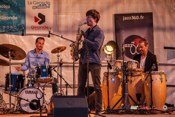 Félix Joveniaux, Joachim Poutaraud, Philippe Ciminato; Adrien Brandéis Quintet, Festival JAZZ360 2019, Langoiran. 06/06/2019