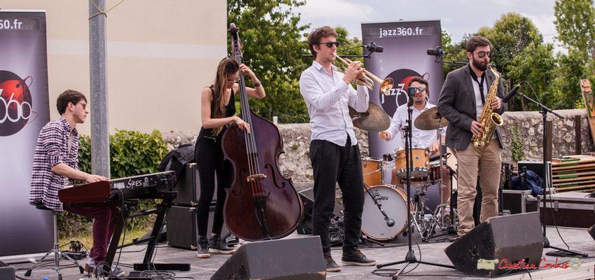 Robin Magord, Laure Sanchez, Paolo Chatet, Nicolas Girardi, Jonathan Bergeron; Atelier Jazz du conservatoire Jacques Thibaud. Festival JAZZ360 2018, Quinsac. 10/06/2018