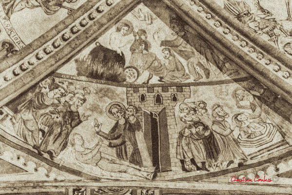 """""""Colorier et découper selon les pointillés"""" Eglise Saint-Sauveur, cité médiévale de Saint-Macaire. 28/09/2019. Photographie © Christian Coulais"""