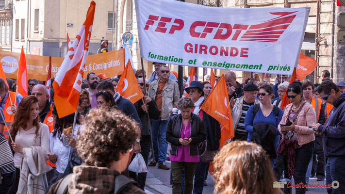 C.F.D.T. Gironde Formation et enseignement privés. Manifestation intersyndicale de la Fonction publique, place Gambetta, Bordeaux. 10/10/2017