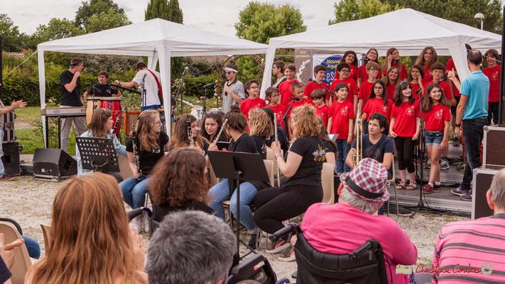 """""""à 3 vous saluez, 1 !"""". Chorale de l'école du Tourne & Big Band Jazz du Collège Eléonore de Provence. Festival JAZZ360 2018, Cénac. 08/06/2018"""
