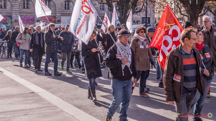 """""""L'occasion de saturer les réseaux sociaux"""" CGT / La France insoumise. Manifestation intersyndicale contre les réformes libérales de Macron. Place Gambetta, Bordeaux, 16/11/2017"""