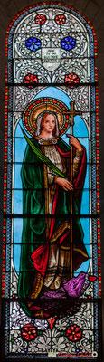 Détail vitrail Vierge Marie, don de Mr Gustave Samazeuilh, 1876. Eglise Saint-André, Cénac. 11/05/2018