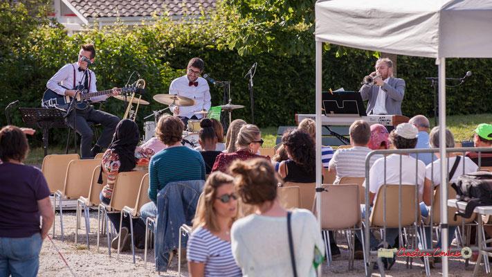 Julien Jolis, Julien Lavie, José Baloche; Jujubees Swing Combo. Festival JAZZ360, square de la roseraie, allée des écoliers, Cénac. 08/06/2019