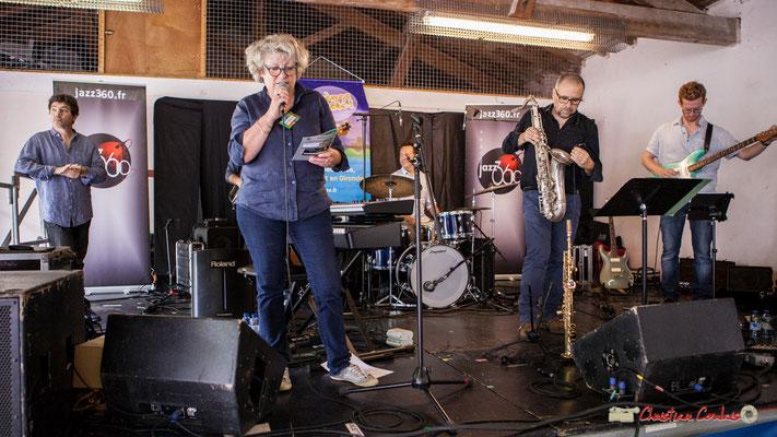 Marie-Line Micheau-Héraud, adjointe au Maire, présente le Serge Moulinier Quintet. Festival JAZZ360 2018, Camblanes-et-Meynac. 09/06/2018