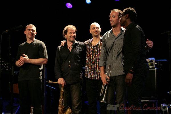 Jean-Yves Jung, Frédéric Borey, Mauro Gargano, Sylvain Gontard, Roger 'Kemp' Biwandu; Roger Biwandu Quintet, Festival JAZZ360 2011, Cénac. 03/06/2011