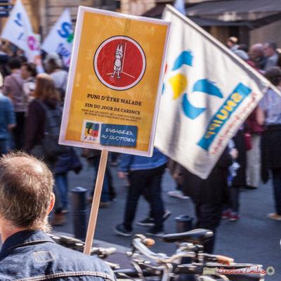 """F.S.U. """"Puni d'être malade, fin du jour de carence..."""" Manifestation intersyndicale de la Fonction publique, place Gambetta, Bordeaux. 10/10/2017"""