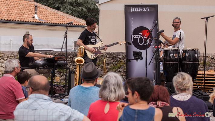 Tony Lavaud, Denis Cornardeau, Ludo Lesage; Shob & Friends. Festival JAZZ360 2018, Quinsac. 10/06/2018