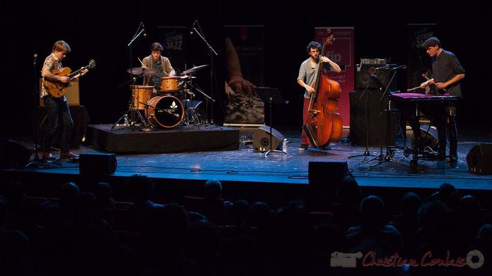 Le quartet Capucine avec Thomas Gaucher, Thomas Galvan, Louis Laville, Félix Robin. Tremplin Action Jazz 2017. Le Rocher de Palmer, Cenon