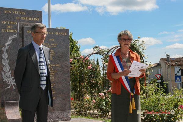 Gérard Pointet, Président des Anciens Combattants, ancien Maire; Simone Ferrer, Maire de Cénac (Gironde); Commémoration de l'Appel du Général de Gaullle ce mercredi 18 juin 2008