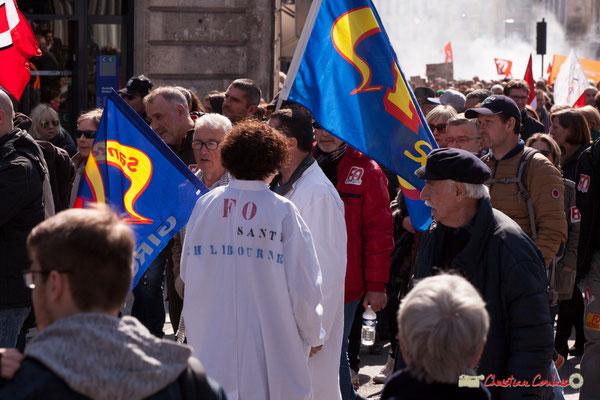 14h39 FO Santé Centre hospitalier Libourne. Manifestation intersyndicale de la Fonction publique/cheminots/retraités/étudiants, place Gambetta, Bordeaux. 22/03/2018