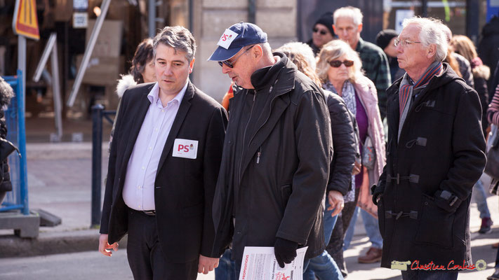 15h05 Parti Socialiste. Manifestation intersyndicale de la Fonction publique/cheminots/retraités/étudiants, place Gambetta, Bordeaux. 22/03/2018