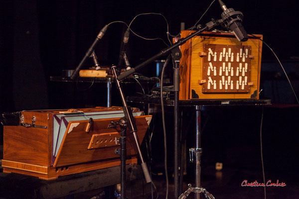 """Harmonium de Sandrine Marchetti & Shruti box M4 à 3 octaves de Sylvain Rifflet ; Sylvains Rifflet """"Troubadours"""" Quartet. Festival JAZZ360, samedi 5 juin 2021, Cénac. Photographie © Christian Coulais"""