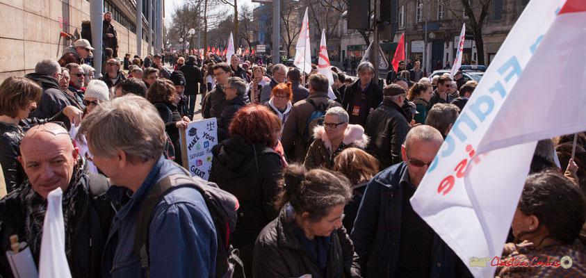 Rassemblement de la France insoumise. Manifestation intersyndicale de la Fonction publique/cheminots/retraités/étudiants, cours d'Albert, Bordeaux. 22/03/2018