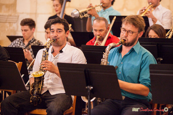 Mathis Polack, saxophone alto; Jérôme Mascotto, saxophone ténor; Big Band Jazz du conservatoire de Bordeaux Jacques Thibaud. Festival JAZZ360 2018, Cénac. 09/06/2018