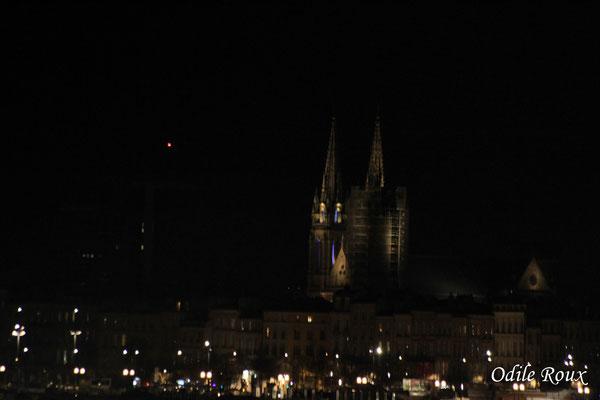 Eglise Notre-Dame depuis le pont Jacques Chaban-Delmas photographiée par Odile Roux. Bordeaux, 27 février 2019
