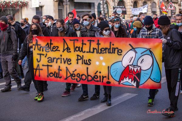 """""""Arrêtez de tout interdire, j'arrive plus à tout désobéir"""" Manifestation contre la loi Sécurité globale. Samedi 28 novembre 2020, cours Victor Hugo, Bordeaux. Photographie © Christian Coulais"""
