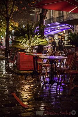 Terrasses extérieur nuit, restaurant-brasserie le Café du Levant, rue Charles Domercq, Bordeaux