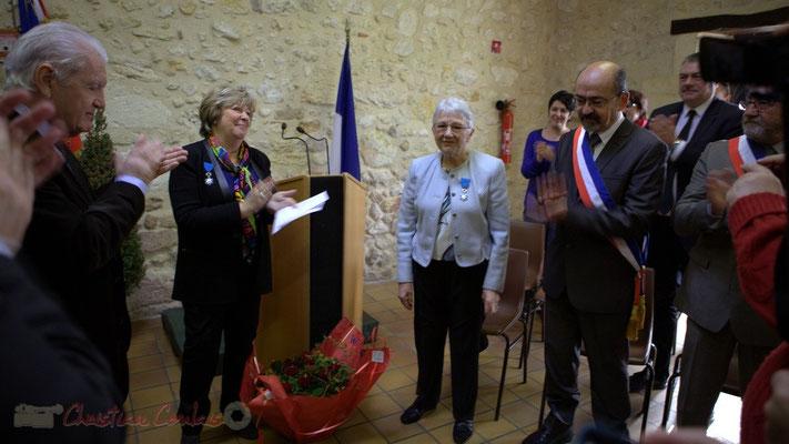 Philippe Madrelle, Françoise Cartron, Suzette Grel, Michel Nadaud. 7 février 2015 à Le Pout