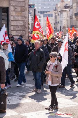 14h19 CGT Bassin d'Arcachon. Manifestation intersyndicale de la Fonction publique/cheminots/retraités/étudiants, place Gambetta, Bordeaux. 22/03/2018