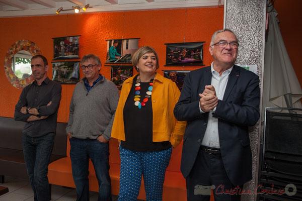 Thierry Tujague, restaurant les Acacias, Richard Raducanu, Président JAZZ360, Catherine Veyssy, Maire de Cénac, Jean-Marie Darmian, Vice-président du Conseil départemental de la Gironde. 03/06/2016
