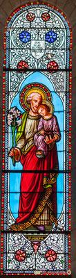 Détail vitrail Saint-Joseph, don de Mr Gustave Samazeuilh, 1876. Eglise Saint-André, Cénac. 11/05/2018