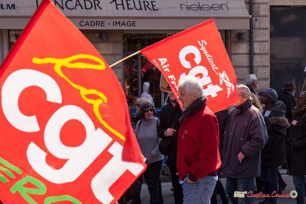 14h20 CGT Air France. Manifestation intersyndicale de la Fonction publique/cheminots/retraités/étudiants, place Gambetta, Bordeaux. 22/03/2018