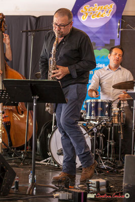 Alain Coyral, Didier Ottaviani; Serge Moulinier Quintet. Festival JAZZ360 2018, Camblanes-et-Meynac. 09/06/2018