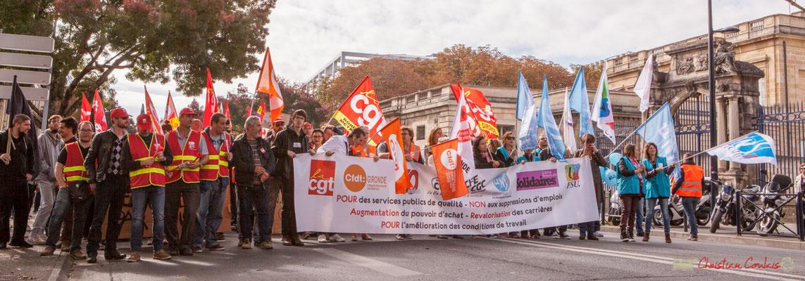 """""""Revaloristation des carrières. Pour l'amélioration des conditions de travail.""""  Manifestation intersyndicale unitaire de la Fonction publique, cours d'Albert, Bordeaux. 10/10/2017"""