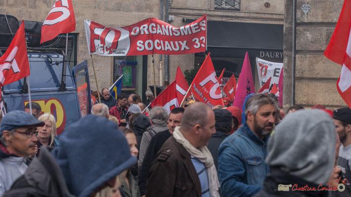 FO Organismes sociaux 33. Manifestation contre la réforme du code du travail. Place Gambetta, Bordeaux, 12/09/2017